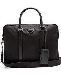 Prada - Leather Trimmed Nylon Briefcase - Lyst