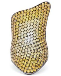 Lynn Ban - Rhodium Plated-silver Diamond Pavé Ring - Lyst