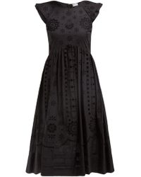 RED Valentino - Broderie Anglaise Cotton Midi Dress - Lyst