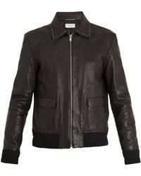 Saint Laurent - Point-collar Stud-embellished Leather Jacket - Lyst