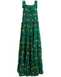 Adriana Degreas - Josephine Baker Floral-print Silk Dress - Lyst