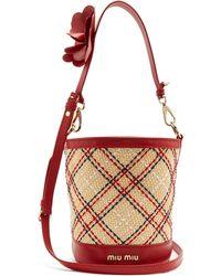 Miu Miu   Embroidered-raffia Bucket Bag   Lyst