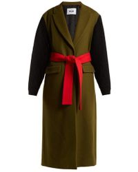 MSGM - Ribbed-sleeve Colour-block Wool-blend Coat - Lyst