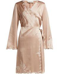 Carine Gilson - Lace Trimmed Silk Satin Robe - Lyst