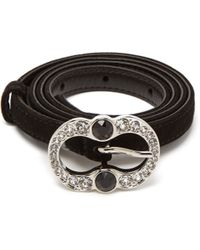 Prada - Crystal Embellished Suede Belt - Lyst