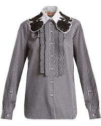 N°21 - Embellished-collar Gingham Cotton Shirt - Lyst