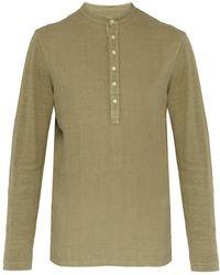 120% Lino - Henley Long Sleeved Linen T Shirt - Lyst