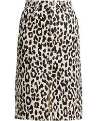 See By Chloé - Leopard Print Denim Midi Skirt - Lyst
