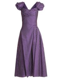 Carolina Herrera - Sweetheart-neckline, Puff-sleeve Gingham Dress - Lyst