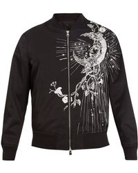 Alexander McQueen - Moon-embroidery Satin Bomber Jacket - Lyst