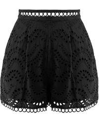 Zimmermann - Jaya Wave Cotton Shorts - Lyst