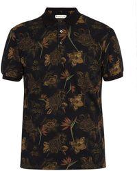 Etro - Floral Print Cotton Polo Shirt - Lyst
