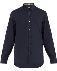 Burberry - William Logo Embroidered Stretch Cotton Shirt - Lyst