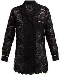 Dolce & Gabbana - Floral Lace Piped Pyjama Top - Lyst