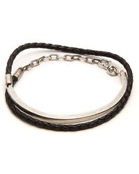 Title Of Work - - Leather And Sterling Silver Wraparound Bracelet - Mens - Black Multi - Lyst