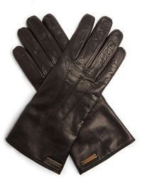 Burberry - Topstitched Leather Gloves - Lyst