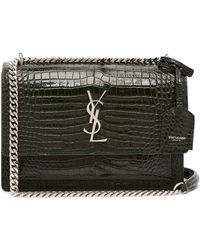 Saint Laurent - Sunset Medium Crocodile Effect Leather Bag - Lyst