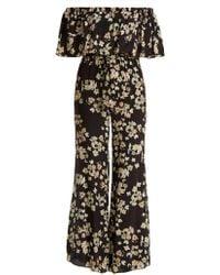 Athena Procopiou - Wild Grace Off-the-shoulder Silk Jumpsuit - Lyst