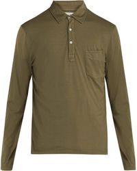 Officine Generale - Long-sleeved Cotton Polo Shirt - Lyst