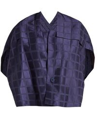 Issey Miyake - Square-neck Draped-back Grid-jacquard Jacket - Lyst