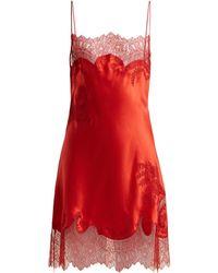 Carine Gilson - Lace Trimmed Silk Satin Slip Dress - Lyst