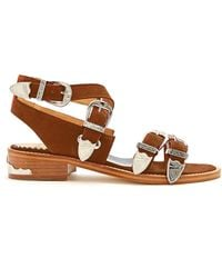 Toga | Cross-strap Buckle Suede Sandals | Lyst