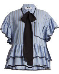 MSGM - Lace And Ruffle-trimmed Striped Shirt - Lyst