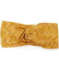 Missoni Knotted Zigzag Knitted Headband - Metallic