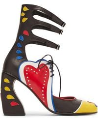 69ace2d79a350 Marques'Almeida - Buckle Fastening Block Heel Appliqué Leather Court Shoes  - Lyst