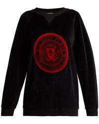 Balmain - Logo Jacquard Velvet Sweatshirt - Lyst