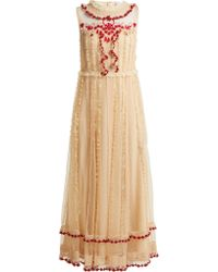 734f27d4 RED Valentino Pleated Tulle Floral-print Midi Dress in Natural - Lyst