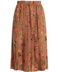N°21 | Floral-print Pleated Silk Skirt | Lyst