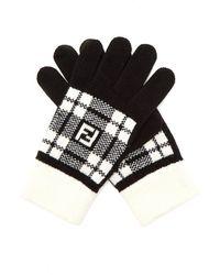 c3742ab81c5e Fendi - Ff Tartan Wool Gloves - Lyst