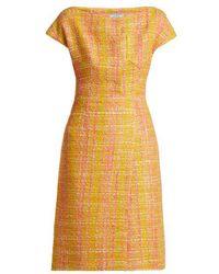 Prada - Tweed Bouclé Midi Dress - Lyst