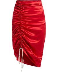 Hillier Bartley - Gathered Silk Satin Pencil Skirt - Lyst