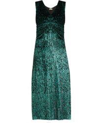 MASSCOB - Laurent Ruched Velvet Dress - Lyst