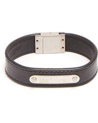 Saint Laurent - Logo Leather Cuff Bracelet - Lyst