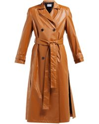 OSMAN - Emme Double Breasted Faux Leather Trench Coat - Lyst