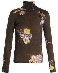 Acne Studios - Cleo High Neck Floral-print Wool Jumper - Lyst