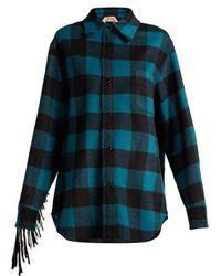 N°21 - Fringed Wool Blend Plaid Overshirt - Lyst