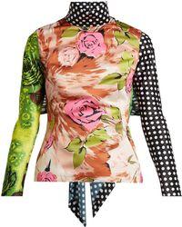 Richard Quinn - Tie Back Floral Print Panelled Top - Lyst