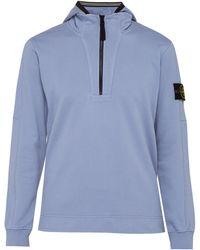 Stone Island - Half Zip Cotton Hooded Sweatshirt - Lyst