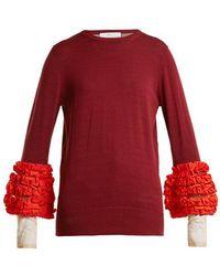 Toga - Contrast-cuff Ruffled Sweater - Lyst