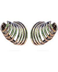 Lynn Ban - Sonic Sapphire & Rhodium Plated Ear Cuffs - Lyst