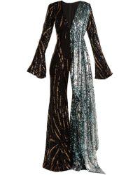 Halpern - Sequin Embellished Wide Leg Jumpsuit - Lyst