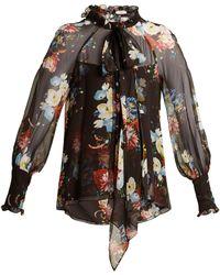 Erdem - Isabelle Silk-voile Floral-print Blouse - Lyst