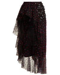Rodarte - Asymmetric Floral-appliqué Tulle Skirt - Lyst