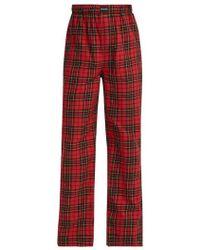 Balenciaga - Tartan-print Straight-leg Cotton Trousers - Lyst