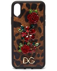 Dolce & Gabbana - Iphone X Cover In Printed Dauphine Calfskin With Logo And Appliqués - Lyst