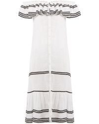 Lisa Marie Fernandez - Mira Ruffle Trimmed Button Through Linen Dress - Lyst